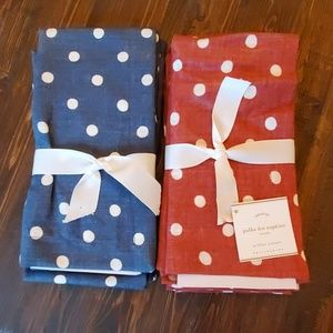 POTTERY BARN Dot Print Napkins- 1 set, red or blue
